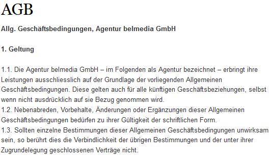 Auszug aus den AGB.