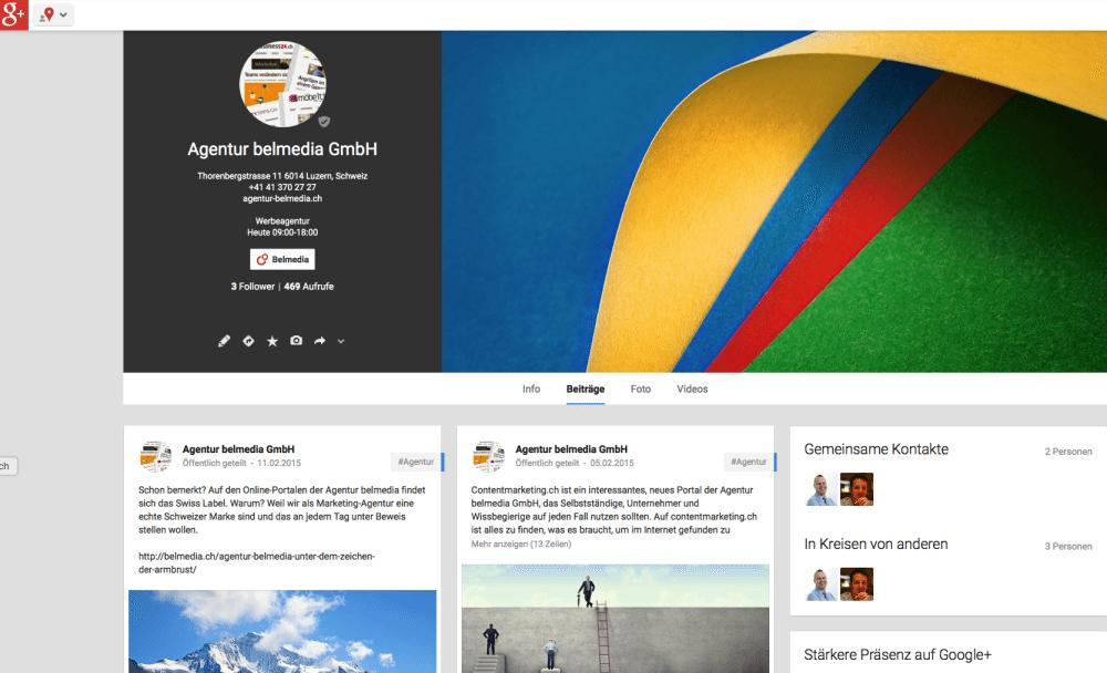 Die neue Google+-Seite der Agentur belmedia (Screenshot).