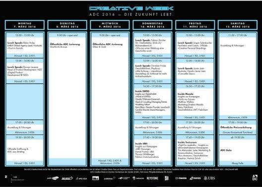 Das offizielle Programm für die AdcCreativeWeek (Bild: ADC Schweiz)