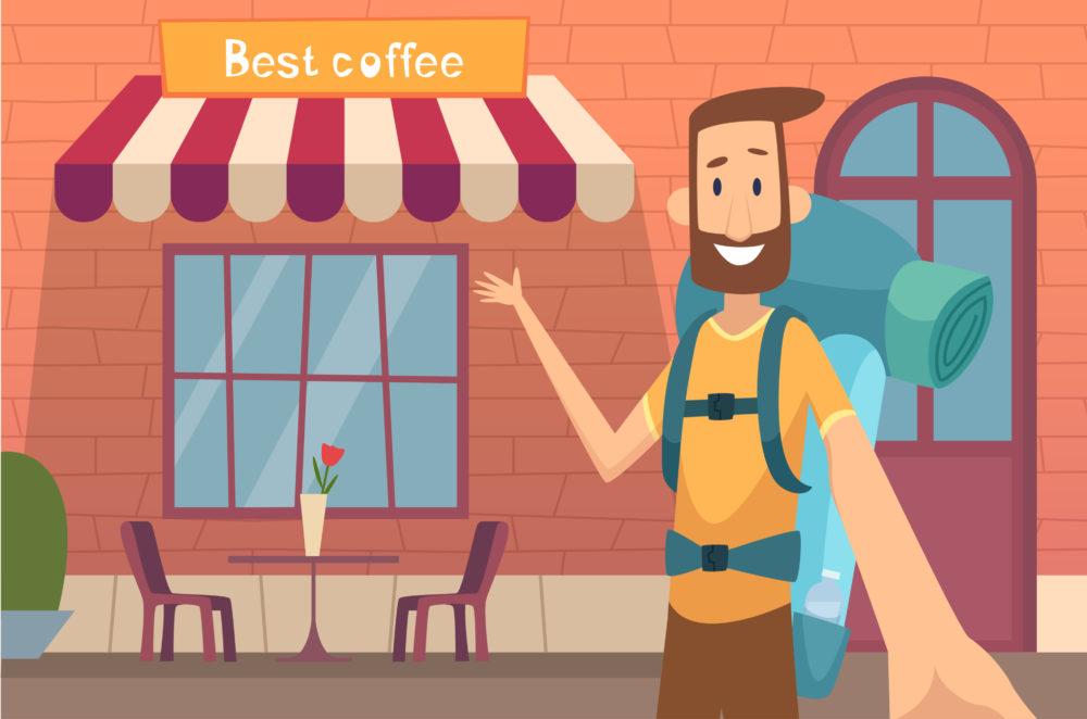 Produktplatzierung für ein Cafe